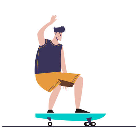 Young man skateboarding. Isolated surf skate. Colorful clothing. Character boy vector illustration 矢量图像