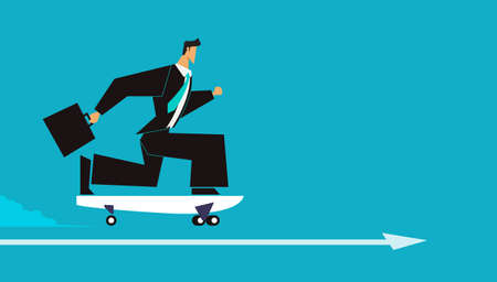 Businessman is surfing. man playing skateboard or surf skate. Isolated on blue background. flat design vector illustration. 矢量图像