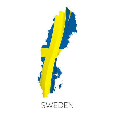 Map Of Sweden With Flag As Texture Isolated On White Background. Vector Illustration
