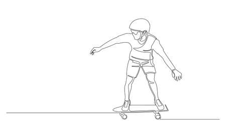 One continuous single drawn line man playing skateboard. vector illustration.