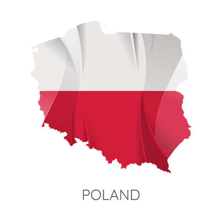 Map Of Poland With Flag As Texture Isolated On White Background. Vector Illustration 矢量图像