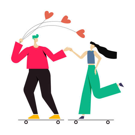 young couple playing surfing with skateboard or surf skates. A man with a balloon. flat design vector illustration. 矢量图像