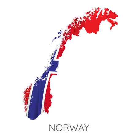 Map Of Norway With Flag As Texture Isolated On White Background. Vector Illustration