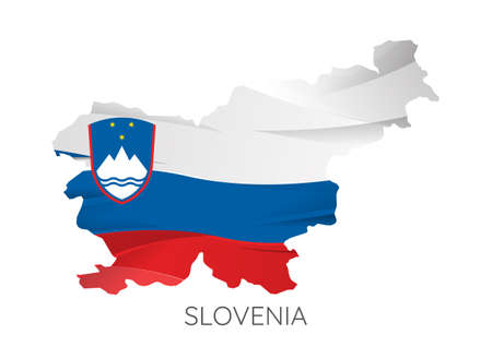 Map Of Slovenia With Flag As Texture Isolated On white Background. Vector Illustration 矢量图像
