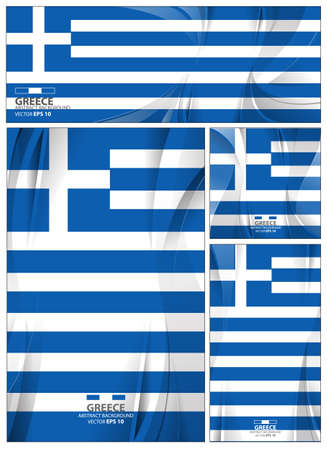 Greece flag abstract colors background. Collection banner design. brochure vector illustration. 矢量图像