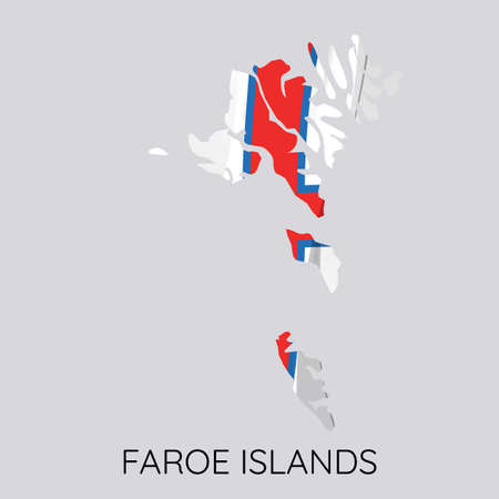 Map Of Faroe islands With Flag As Texture Isolated On White Background. Vector Illustration