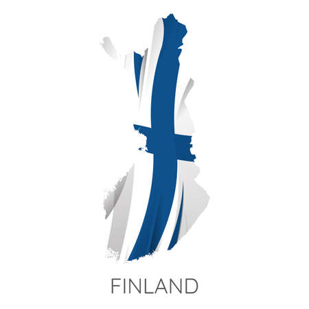 Map Of Finland With Flag As Texture Isolated On White Background. Vector Illustration 矢量图像