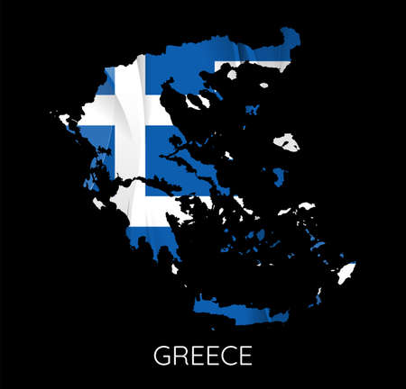 Map Of Greece With Flag As Texture Isolated On black Background. Vector Illustration
