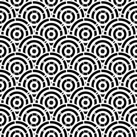Vector Seamless Black and White Rounded. Geometric striped ornament. Round lines stylish background.