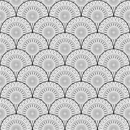 Vector Seamless Black and White Pattern. Geometric striped ornament. Flowers Round lines stylish background.