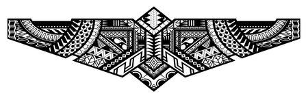Polynesian tattoo pattern maori, samoa ornament border, ethic tribal template vector.