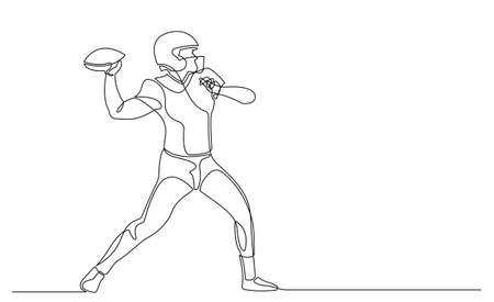 Continuous line american football player vector. single line draw design hold and ready to pass the ball for competition.