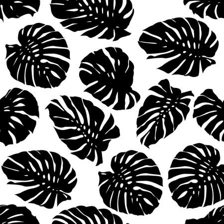 Monstera tropical leaf seamless Pattern. Leaves silhouettes vector design. 矢量图像