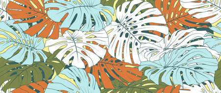 Hand drawn abstract tropical summer background. monstera leaf seamless pattern. texture for print, fabric, packaging design, invite.