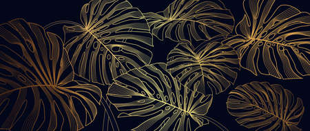 Luxury golden line art and natural. Linear Monstera background texture for print, fabric, packaging design, invite. 矢量图像