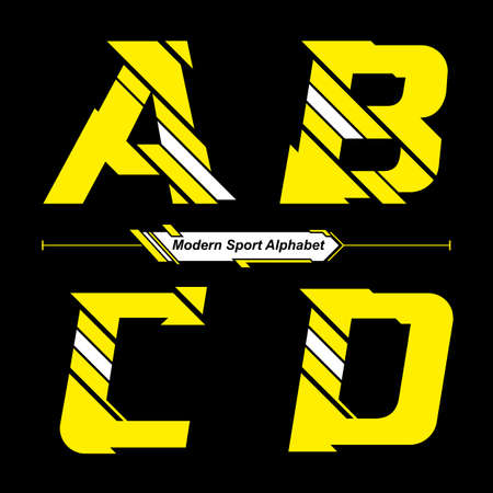 Vector graphic alphabet in a set A,B,C,D, with Abstract Yellow and White Modern Sport font style Illusztráció