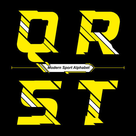 Vector graphic alphabet in a set Q,R,S,T with Abstract Yellow and White Modern Sport font style Illusztráció