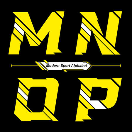Vector graphic alphabet in a set M,N,O,P with Abstract Yellow and White Modern Sport font style Illusztráció