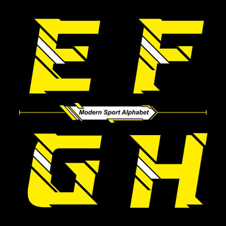 Vector graphic alphabet in a set E,F,G,H, with Abstract Yellow and White Modern Sport font style