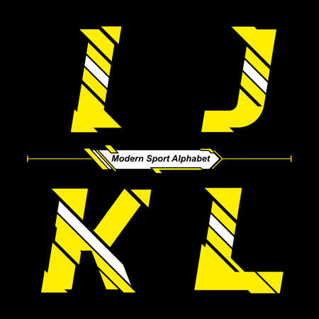 Vector graphic alphabet in a set I,J,K,L, with Abstract Yellow and White Modern Sport font style