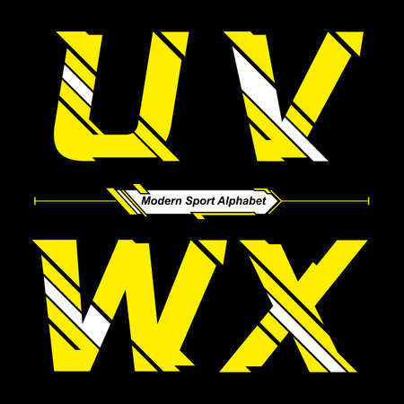 Vector graphic alphabet in a set U,V,W,X with Abstract Yellow and White Modern Sport font style Illusztráció