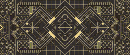 Vector modern geometric tiles pattern. Abstract art deco seamless luxury background. Illusztráció