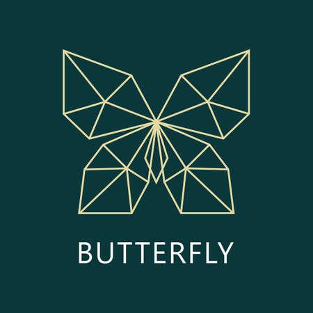 Abstract polygonal butterfly logo. Geometric linear butterfly vector.