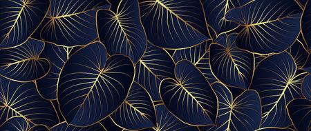 Luxury golden line art homalomena rubescens natural. Linear wave background texture for print, fabric, packaging design, invite. Illusztráció