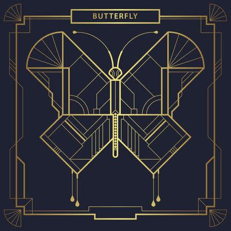 Abstract art deco polygonal butterfly logo. Geometric linear butterfly vector.