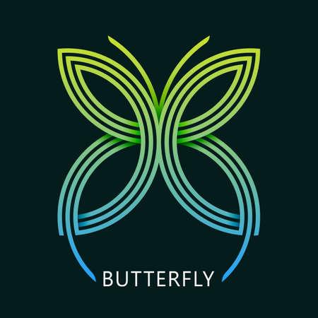 Abstract Butterfly geometric logo. linsect tattoo mascot. inear gradient simple t-shirt print emblem Illusztráció