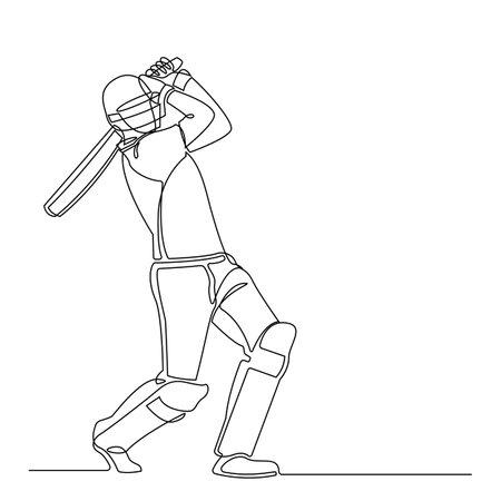 Continuous line drawing of playing cricket. sport player continuous single line art vector illustration. Illusztráció