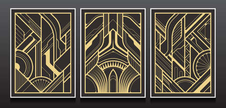 Luxury Invitation card design vector. Set of geometric backgrounds with art deco design.