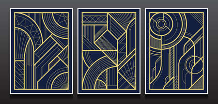 Gold and Luxury Invitation card design vector. Set of geometric backgrounds with art deco design.