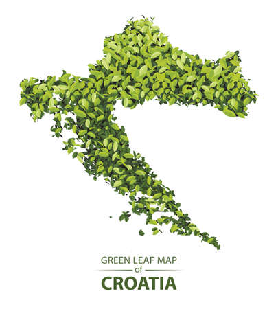 croatia map made up of green leaf on white background vector illustration of a forest is conceptual of the global green environmental issues worldwide