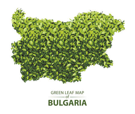 bulgaria map made up of green leaf on white background vector illustration of a forest is conceptual of the global green environmental issues worldwide