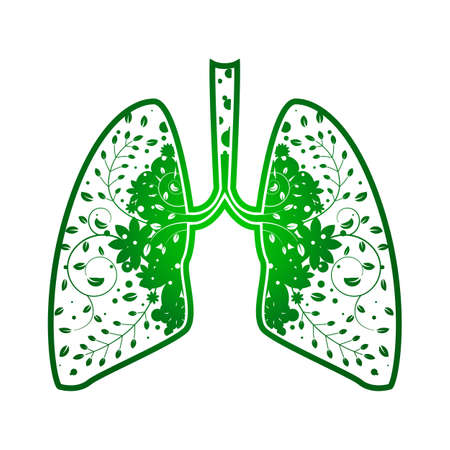 Lungs with Green leaf. Gradient tree outline vector Medical illustration. Health care. Tree branches like the lungs with leaves.