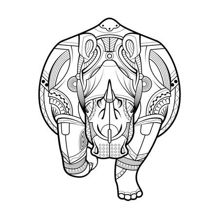 Rhinoceros Black white hand drawn vector. Drawing rhino for coloring page, shirt design effect,  tattoo and decoration. 矢量图像