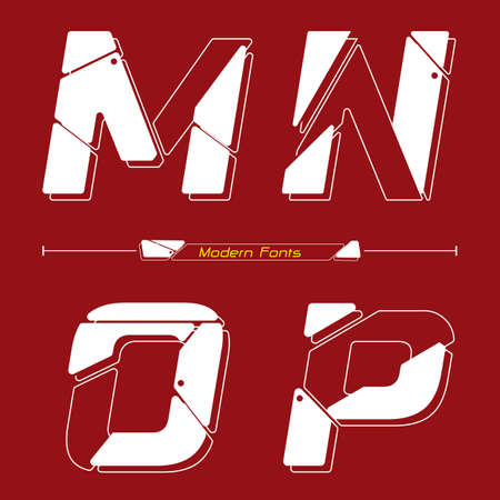 Vector graphic alphabet in a set M,N,O,P, with Abstract Future modern font. Typography design for posters,  cover, etc.