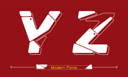 Vector graphic alphabet in a set Y,Z, with Abstract Future modern font. Typography design for posters,  cover, etc. 矢量图像