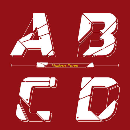 Vector graphic alphabet in a set A,B,C,D, with Abstract Future modern font. Typography design for posters, cover, etc. 矢量图像