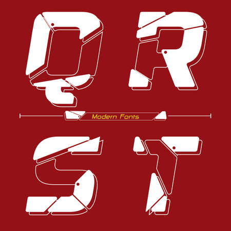 Vector graphic alphabet in a set Q,R,S,T, with Abstract Future modern font. Typography design for posters,  cover, etc. 矢量图像