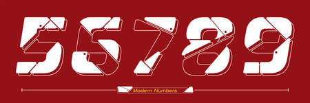 Vector graphic numbers in a set 0,1,2,3,4, with Abstract Future modern font. Typography design for posters,  cover, etc.