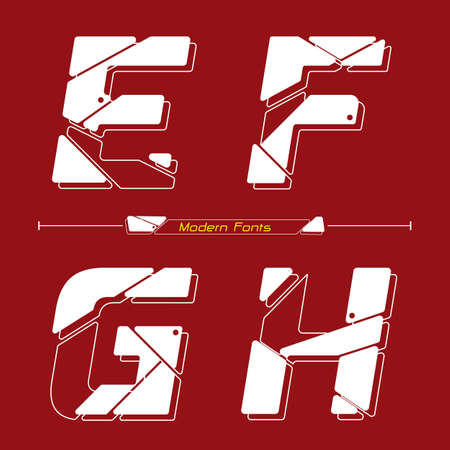 Vector graphic alphabet in a set E,F,G,H, with Abstract Future modern font. Typography design for posters,  cover, etc.