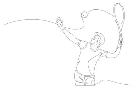 Continuous line tennis player. One lines draw design vector illustration. 矢量图像