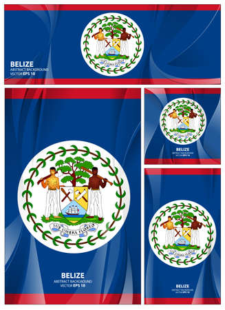 Belize flag abstract colors background. Collection banner design. brochure vector illustration.