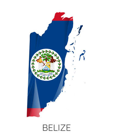 Map Of Belize With Flag As Texture Isolated On white Background. Vector Illustration 矢量图像