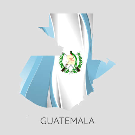 Map Of Guatemala With Flag As Texture Isolated On White Background. Vector Illustration 矢量图像