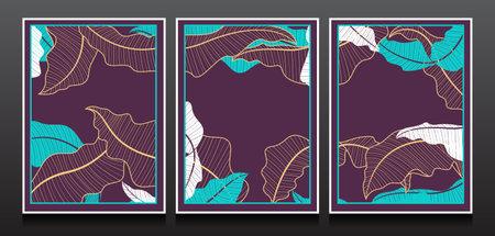 Luxury Invitation card design vector. Set of Linear Botanical Leaves Illustration Template Design.