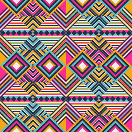 Vector Seamless Tribal Pattern. Stylish Art Ethnic Print Ornament with Triangles background. 矢量图像
