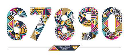 Vector graphic number in a set 6,7,8,9,0, with Ethnic tribal color style